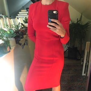 ASOS red shoulder pad midi dress